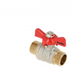 Ball valve with red butterfly PN25