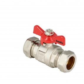 Ball valve with red butterfly