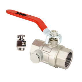 Ball valve with red handle with drainplug connection